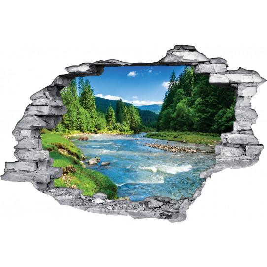 Stickers Trompe l'oeil 3D Rivière Forêt