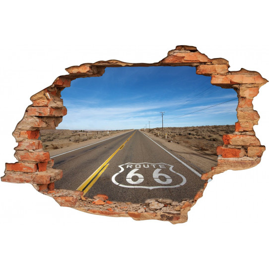 Stickers Trompe l'oeil 3D Route 66