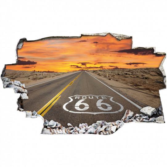 Stickers Trompe l'oeil 3D - Route 66 2