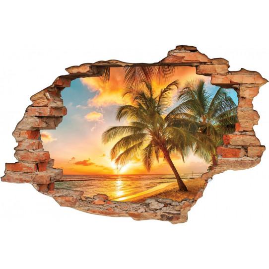Stickers Trompe l'oeil 3D Tahiti